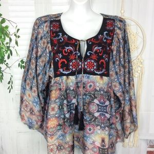 Anthro Kas New York Boho Embroidered Top Multi S